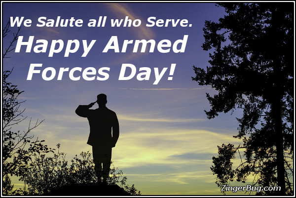 Click to get the codes for this image. We Salute All Who Serve Happy Armed Forces Day, Armed Forces Day Glitter Graphic, Comment, Meme, GIF or Greeting