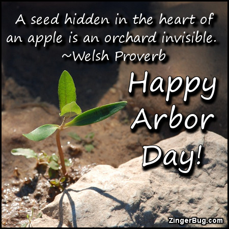 Click to get the codes for this image. A seed hidden in the heart of an apple is an orchard invisible. Welsh Proverb. Happy Arbor Day!
