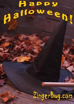 Click to get the codes for this image. Happy Halloween Witches hat, Halloween Free Image, Glitter Graphic, Greeting or Meme for Facebook, Twitter or any forum or blog.