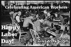 Click to get the codes for this image. This vingage photograph shows factory workers in a textile factory. The comment reads: Celebrating American Workers. Happy Labor Day!