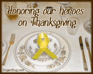 Click to get the codes for this image. This comment shows a fancy table setting with a yellow ribbon placed over the plates. The comment reads: Honoring ouf heroes on Thanksgiving.