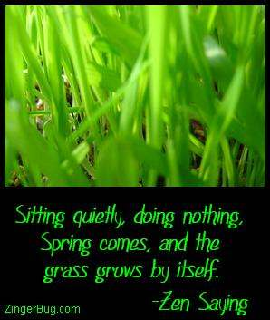 Click to get the codes for this image. This comment features a close-up photograph of green grass. The comment reads: Sitting quietly, doing nothing, Spring comes, and the grass grows by itself. - Zen Saying