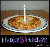 Click here to browse our collection of MySpace Happy Birthday comments featuring images of food. This cute photo features a picture of a pizza with a birthday candle in the middle of it. The comment reads: Happy Birthday!