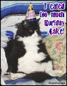 Click here to browse our collection of Happy Birthday graphics with animal themes. This funny photo shows a rotund black and white cat sitting in a chair with his fat belly hanging out. He's wearing a birthday hat. the comment reads: I eated too much burfday cake!