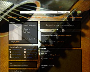 Click here to browse more music and instrument MySpace Layouts. This image is a snapshot of a layout featuring an acoustic guitar